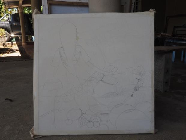 Pencil sketch on canvas